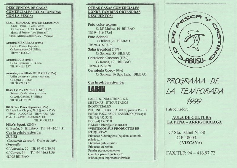 Programa Temporada 1999 a